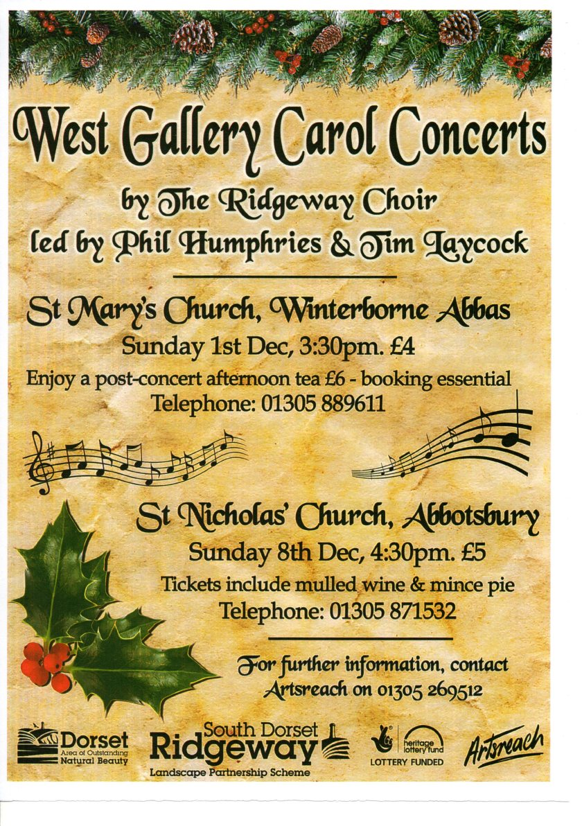 Flyer for two Christmas concerts