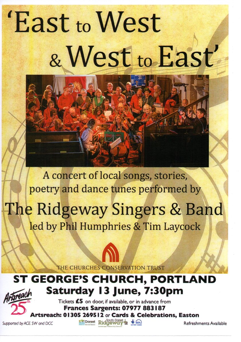 Flyer for concert called 'East to West and West to East'.