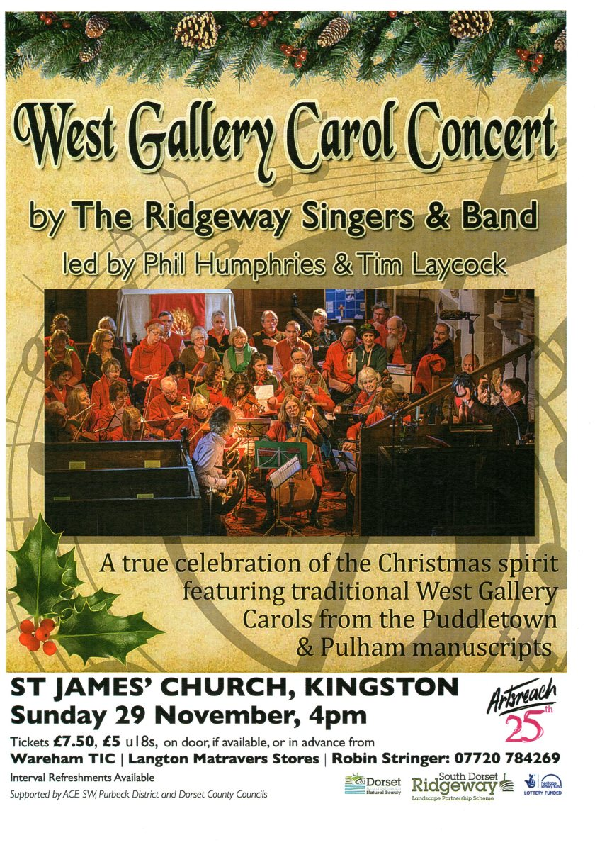 Flyer for concert featuring carols fro the Puddletown and Pulham manuscripts