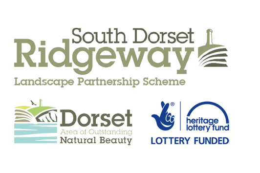 Logos for the South Dorset Ridgeway Landscape Partnership scheme, the Dorset Area of Outstanding Natural Beauty and the Heritage Lottery Fund